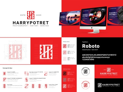 HARRYPOTRET - Logo Construction logoconstruction cleanlogo red service photography monochrome editor logodesign logo corporate identity brand identity