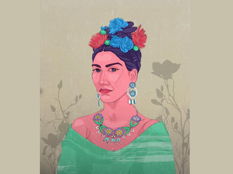 Frida Kahlo, portrait style3 fridakahlo art vector illustrator cc adobe dribbble frida kahlo love portrait art portrait design creative models fasion drawing digital illustration