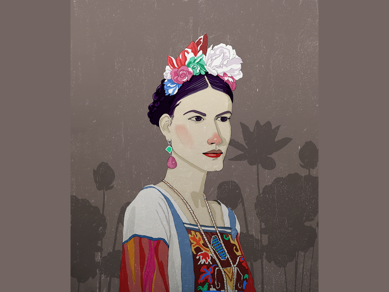 Frida Kahlo, portrait style5 dribbble dribbble shot photoshop illustrator cc fashion adobe portrait art portrait style love frida kahlo fridakahlo art models fasion drawing digital illustration