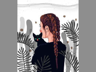 karumban shot dribbble creative art photoshop adobe pets love nature plants girl cats cat drawing digital illustration