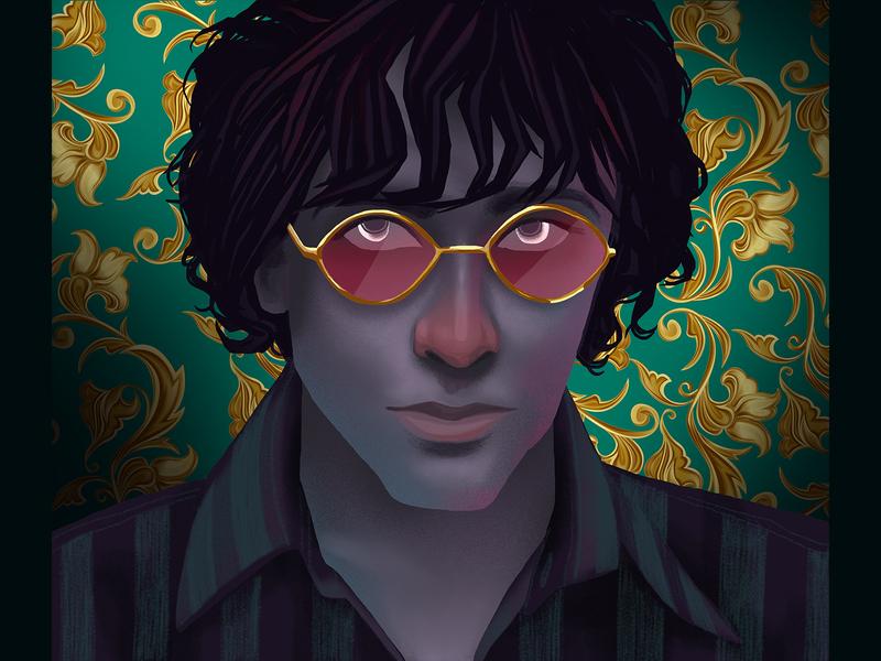 Syd Barret music portrait love design digital art drawing illustration
