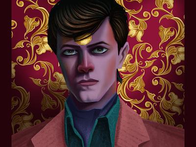 David Bowie portrait star love fasion art drawing dribbble digital illustration