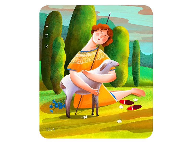 The Lost Sheep instagram dribbble sheperd sheep art love digital illustration