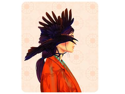 Merging Eyes crow birds creative portrait models fasion design art love drawing digital illustration