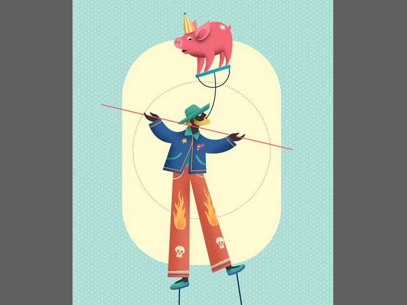 Magician with pig adobe illustrator cc instagram design vector love art drawing digital illustration