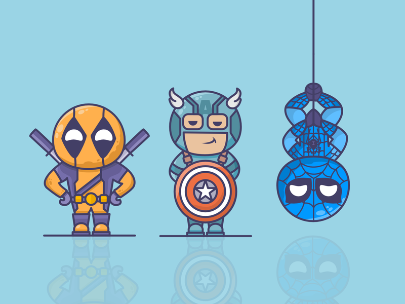Superhero team! Captain Amerita, Deabpool, Snider-man marvel comics superheroes marketing superman superhero characterdesign cartoon character marvelcomics spider man spider-man spiderman deadpool captain america captain marvel captainamerica character design character art characters character marvel