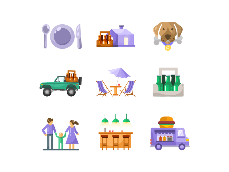 Icon set for bar / Icons / beer / bar / cafe icons icon designer icon set bottle beer branding beer bottle beer label beer art beer pickup food truck food foodtruck restaurant cafe bar pack icons pack icon iconset icons