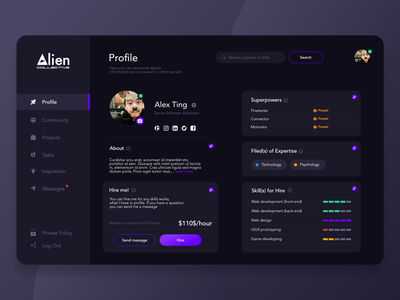 Alien Community uiux app designer uiuxdesigner web designer website dark website dark theme dark mode dark app dark ui uiux