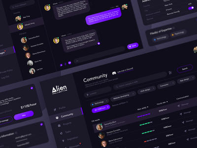 Alien Community uiux design dark mode uiux designer webdesigner app designer uiuxdesigner uiuxdesign dark ui dark theme ui dark theme website uiux