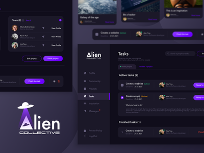 Alien Community webdesign uiux designer top dribbble dark theme dark app uiux design dark mode webdesign uiux dark ui