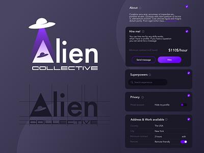 Alien Community logo design top ux ui designer uiuxdesigner dark mode dark uiux dark logo