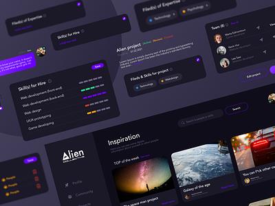 Alien Community app uiux dark ui uiux designer uiuxdesigner dark mode app design uiux