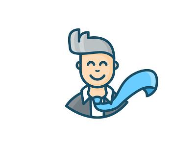 Man / businessman / enterpreneur logo cartoon inspiration character designer illustration man cartoon vector flat aids web enterpreneur businessman business tie wallstreet office man character human design human man