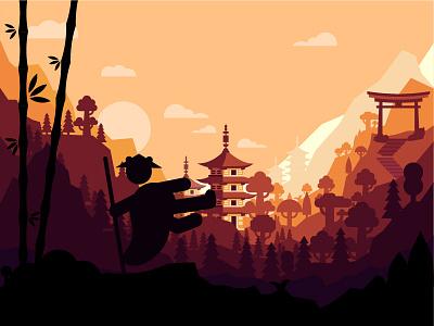 Japan / Panda kung fu / flat wallpaper ramen vector designer logo cartoon designer flat designer wasabi forest sun samurai fight asia sushi wallace cartoon panda kung fu animal panda japanies japan wallpaper