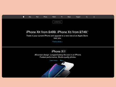 💼 Apple Website Design Replica - January 2019 iPhone XR apple products page ui  ux user interface web design apple devices iphone xr company design replica apple design apple