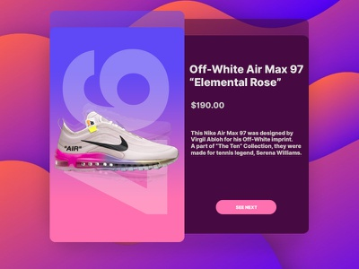 Sneaker Display Page ☄️ illustration nike airmax97 offwhite interface design uiux page display sneakers