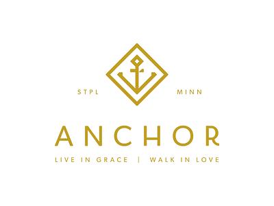 Anchor Church 1 typography anchor church gold foil logo