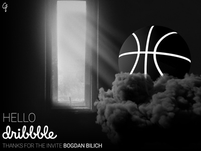 Hello Dribbble shot photoshop abstract debut 3d welcome shot firstshot hello dribble blackandwhite c4d design