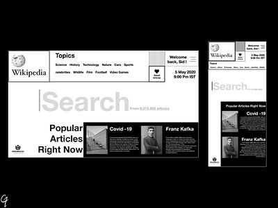 wikipedia concept blackandwhite appdesign app adobe xd adobe uiux uidesign ux ui design minimal