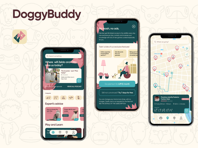DoggyBuddyApp mobile uxdesign ui design branding design app ux ui application app design