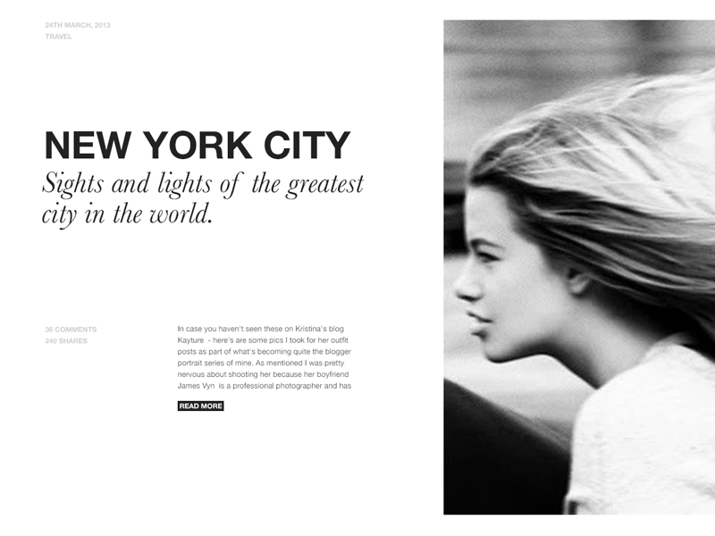 Sights and Lights of NYC typography grid featured type article layout new york city font stack baskerville helvetica helvetica neue excerpt blog post title