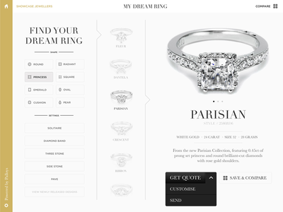 Dream Ring ipad showcase application ring catalogue jewellery filter