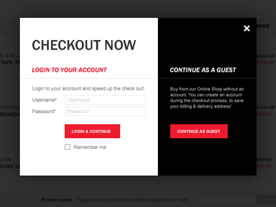 Checkout Login Overlay checkout ecommerce overlay login form account
