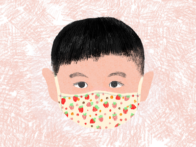 Get fancy during Covid-19 virus kid boy drawing corona covid19 mask illustration