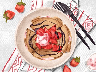 Strawberry Crepe sweet sketch table digital illustration food dessert crepe illustration strawberry