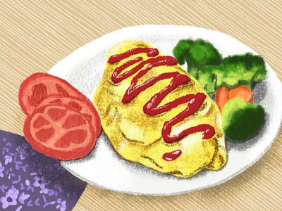 Omu Rice omelette ketchup digitalart drawing sketch illustration food rice omu rice
