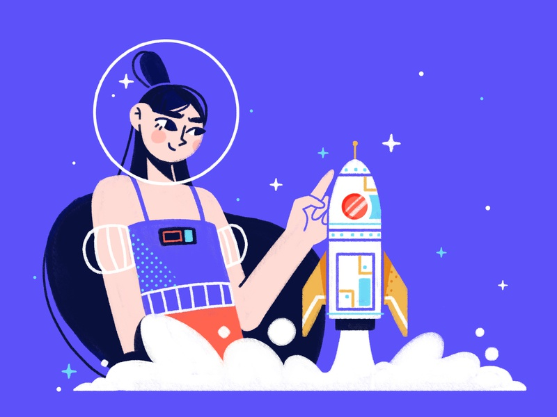 Startup blog spaceship spaceman characterdesign astronaut stars startup rocket space cosmos 2d illustration art character colors design illustration