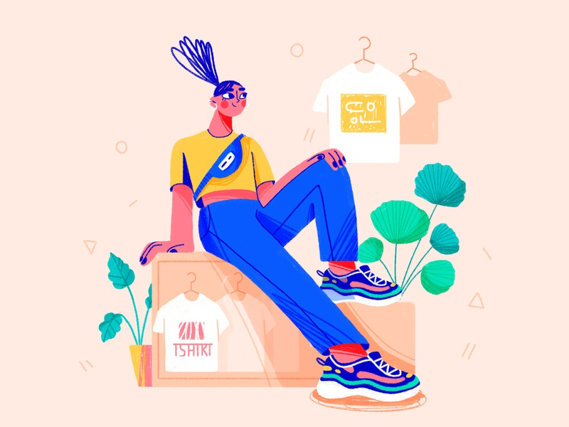 Casual instagram thumbnail hands plants sneakers bag fashion stylish hair tshirt colors characterdesign 2d character design illustration