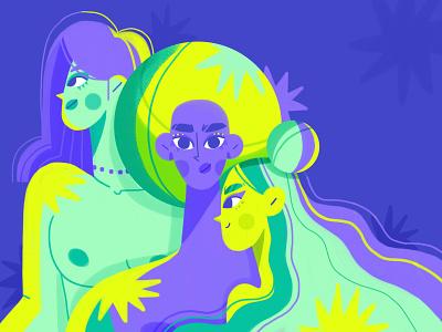 Women feminism design 2d face abstract haircut makeup characterdesign power womensday hair stars neon women character illustration