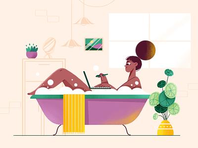 Freelance Life girl laptop hair window bathroom shower bath freelance characterdesign illustration art character design colors illustration