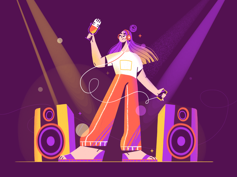 Party at Home isolation party headphone podcast music hair girl 2d characterdesign illustration art character design colors illustration