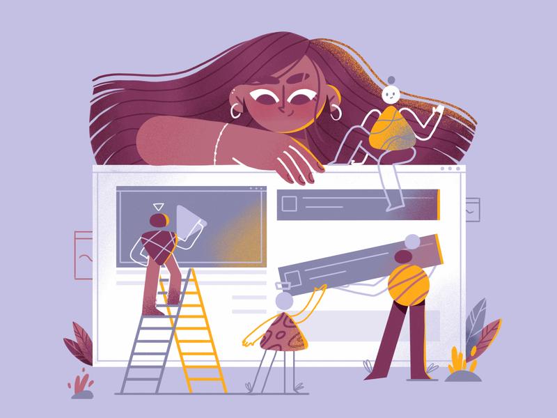 Create geometric video marketing girl characterdesign 2d illustration art character design colors illustration