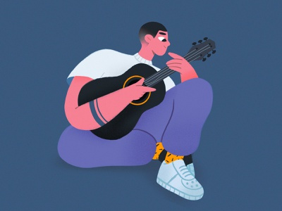 GUITARIST noise hairstyle guitars guitarist musician boy hair tattoo sneaker guitar design character colors illustration