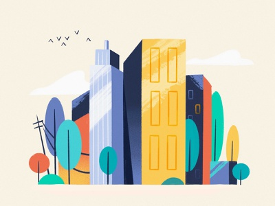 Bright City nature window apartment buildings home house bird cloud texture flat building trees colors city illustration
