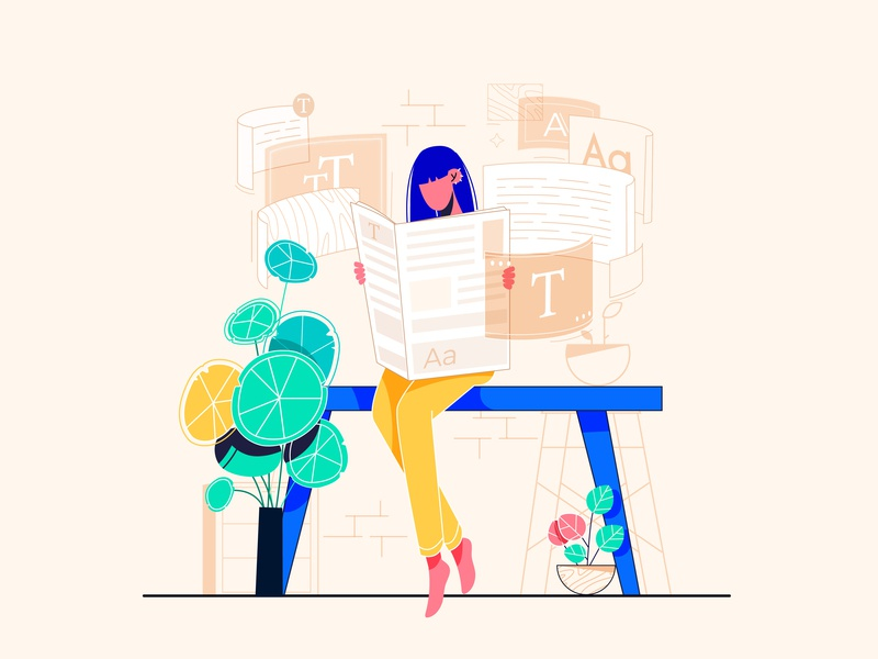 Blog Illustration website design animation vector fonts plants colors 2d character illustration