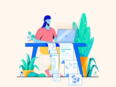 Statistics statistics girl paper blueprint facebook ad vector illustration design plants design character 2d colors illustration art illustration