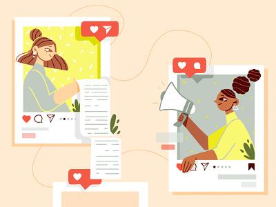 Social Media marketing blog post thumbnail blog hair girl instagram plants illustration design illustration art character colors illustration