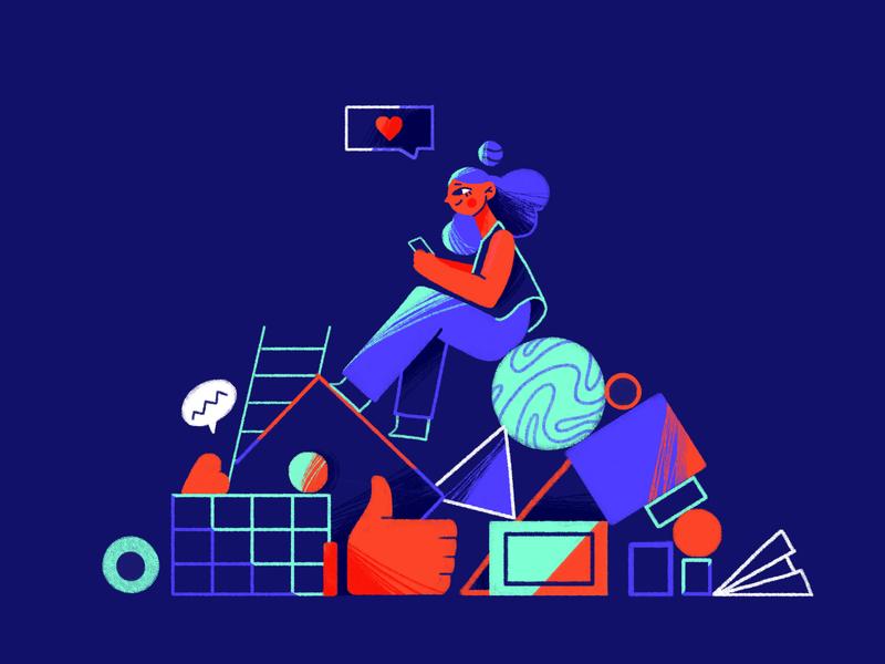 Social Media Statistics for 2020 instagram geometric thumbnail marketing characterdesign girl colors illustration art character design illustration