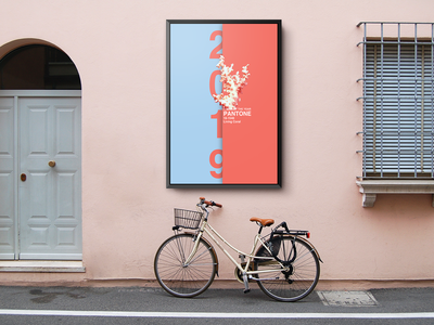Pantone Poster of the Year Outdoor Street Poster Mockup