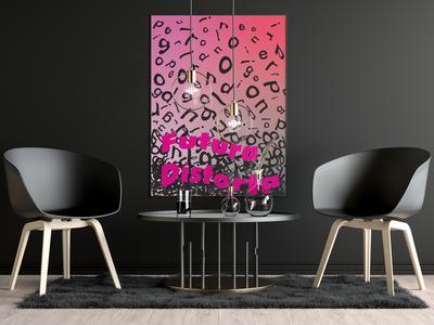 Futura Distorta Black Room Scene Mockup
