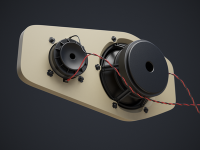 Speaker Wip 02 (3d) speaker aluminum mid woofer tweeter 3d cables