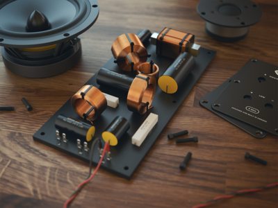 Speaker Wip 03 (3d) 3d vray speaker crossover tweeter woofer aluminum wood screws cabels
