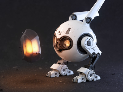 Curious robot ball thing 3d robot animation x-particles redshift cinema4d