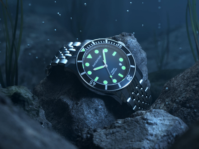 Raconteur Nautilus (3d) raconteur watch bubbles water animation redshift c4d cinema4d metal render 3d