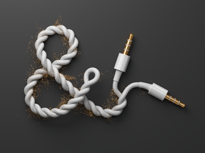 Ampersand Audio Cable (3d) audio cable ampersand corona c4d cgi 3d