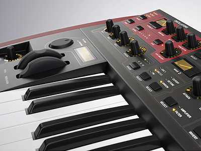 Synth synth knobs keyboard 3d cinema 4d vray synthesizer